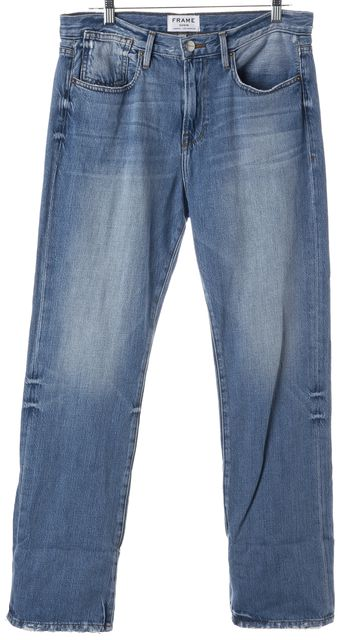 FRAME Blue White Sands High Waist Boot Cut Jeans