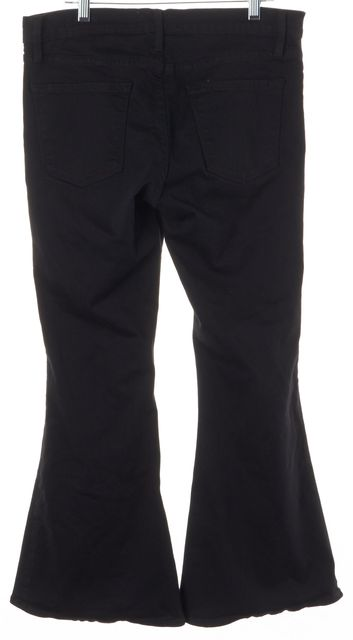 FRAME Black Vian Le Bell Mid-Rise Cropped Flare Jeans