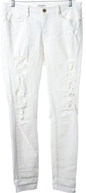 FRAME Winter White Le Skinny de Jeanne Distressed Denim Jeans