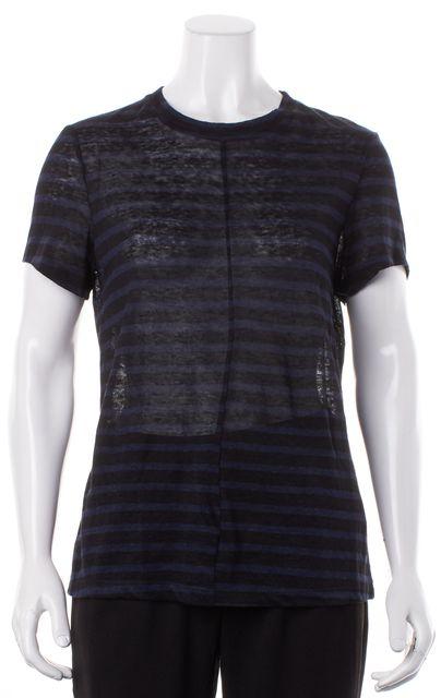 FRAME Navy Black Striped Sheer Linen T-Shirt