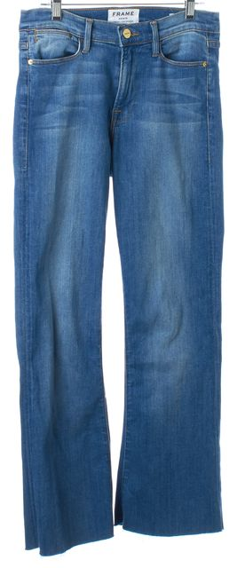 FRAME Blue Cropped Medium Wash Le High Flare Cropped Jeans