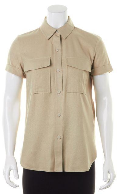 FRAME Light Tan Silk Button Down Shirt Blouse