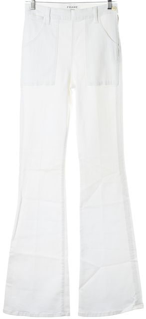 FRAME White Stretch Cotton High Rise Francoise Flare Jeans