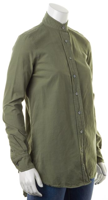 FRAME Green Military Chambray Mandarin Collar Button Down Shirt