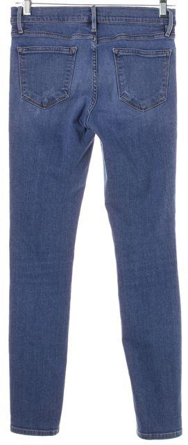 FRAME Blue Medium Wash Distressed Le Skinny de Jeanne Jeans