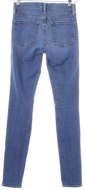FRAME Blue Light Wash Distressed Le Skinny de Jeanne Jeans