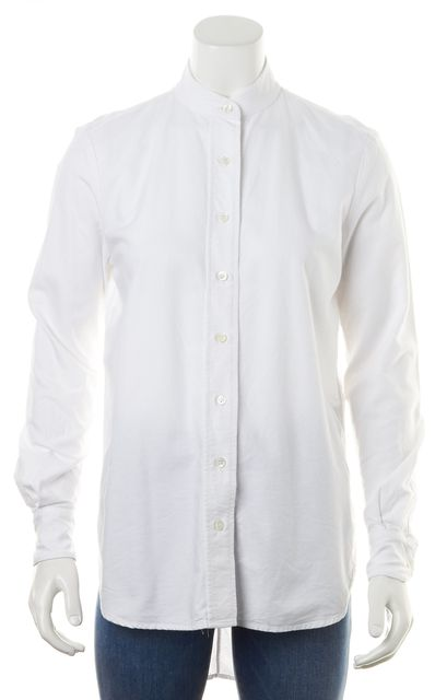 FRAME White Cotton Long Sleeves Stand Collar Oxford Button Down Shirt