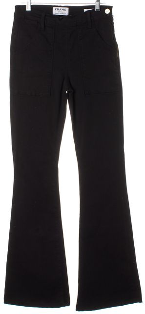 FRAME Black Solid Le Flare de Francoise Side Zipper Mid-Rise Jeans