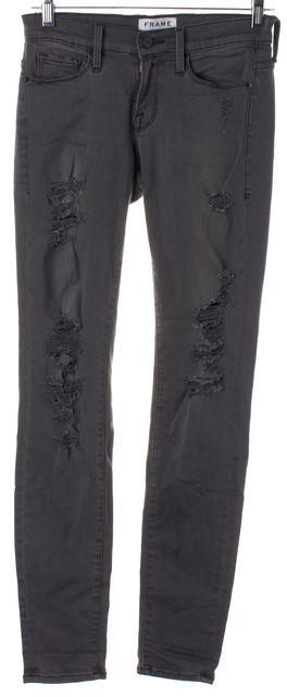 FRAME Gray Wash Distressed Le Skinny de Jeanne Legging Jeans