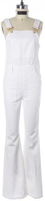 FRAME White Blanc Cotton Denim Flared Leg Overalls Jumpsuit