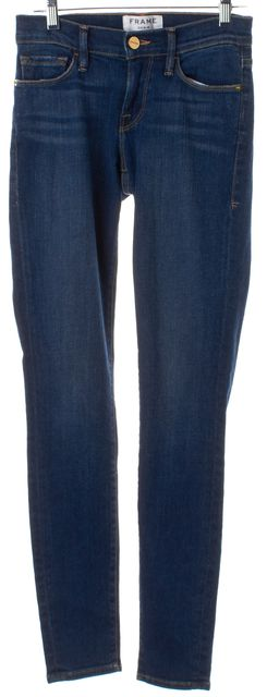 FRAME Blue Medium Wash Le Skinny de Jeanne Low-Rise Jeans