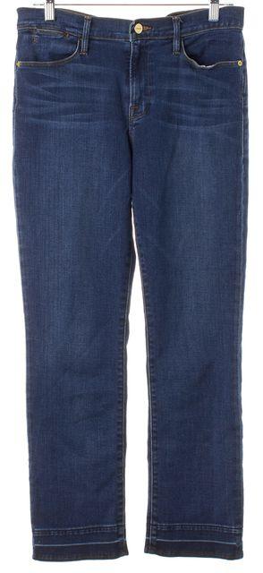 FRAME Blue Thrasher Cotton Denim Le High Straight Leg Jeans