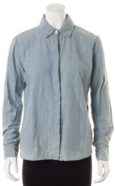 FRAME Pale Blue Linen Amalfi Long Sleeve Button Down Shirt