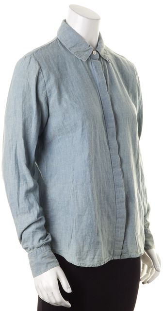 FRAME Pale Blue Linen Amalfi Long Sleeve Button Down Shirt