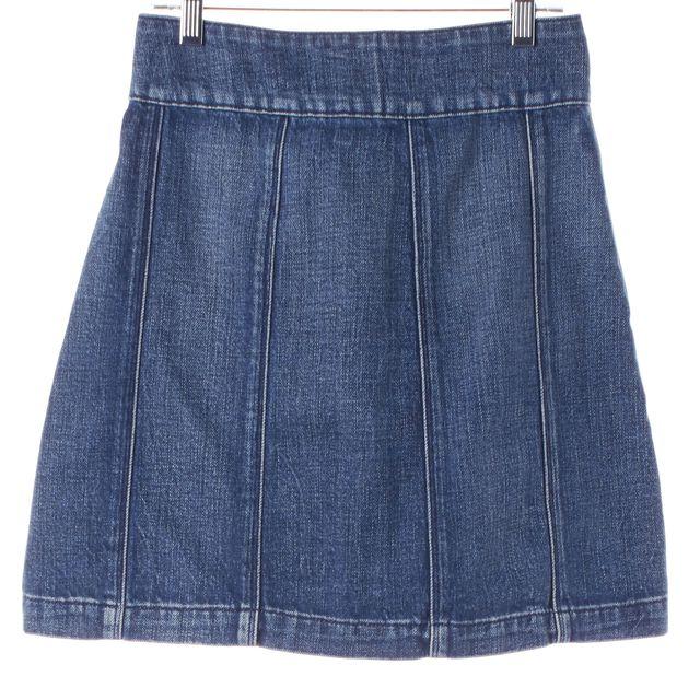 FRAME Blue Medium Wash Georgetown Denim Button Down A-Line Skirt