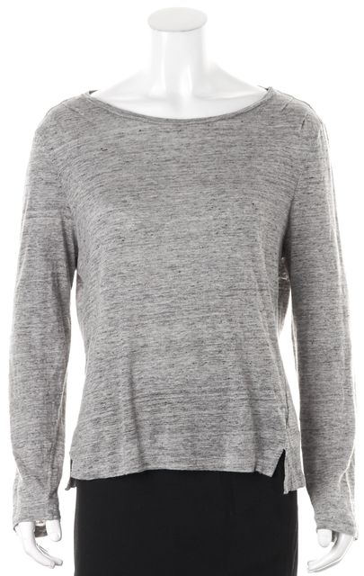 FRAME Heather Gray Linen Long Sleeve Basic Tee T-Shirt