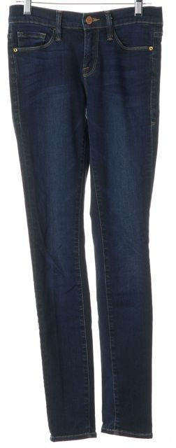 FRAME Columbia Road Blue Stretch Cotton Mid-Rise Skinny Jeans
