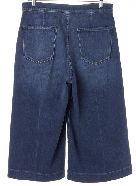 FRAME Blue Sweetzer Medium Wash Denim Hise-Rise Cropped Culotte Jeans