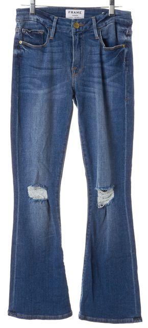 FRAME Stony Creek Blue Mid-Rise Le Crop Mini Boot Cut Jeans