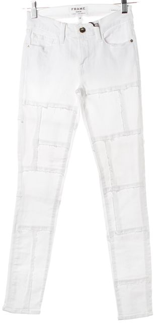 FRAME White Blanc Le Skinny De Jeanne Distressed Patchwork Jeans