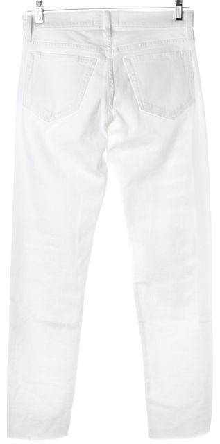 FRAME White Stretch Cotton Distressed Straight Leg Jeans