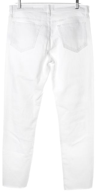 FRAME White Le Boy Distressed Mid-Rise Straight Leg Jeans