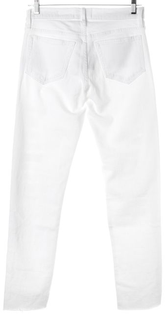 FRAME White Stretch Cotton Distressed Le Boy Straight Leg Jeans
