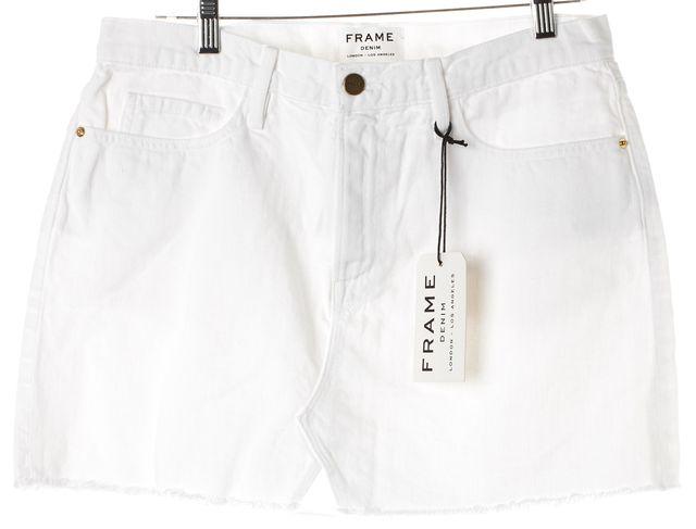 FRAME White Blanc Cotton Denim Cut Off Mini Skirt