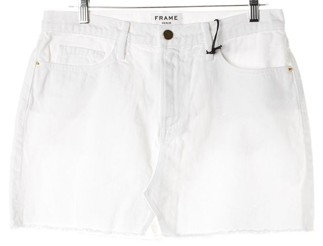 FRAME White Cotton Denim Cut Off Mini Skirt