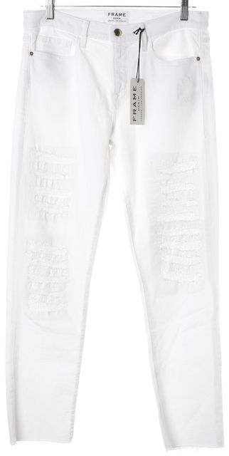 FRAME White Stretch Cotton Distressed Le Boy Straight Leg Jeans