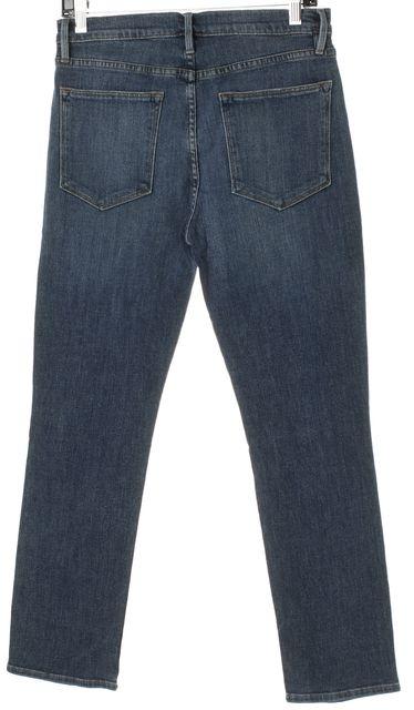 FRAME NNEW Blue Dark Wash Distressed Le High Straight Leg Jeans