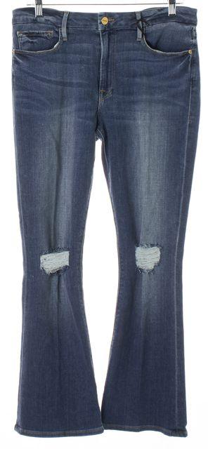 FRAME Blue Stony Creek Distressed Le Crop Mini Boot Cut Jeans