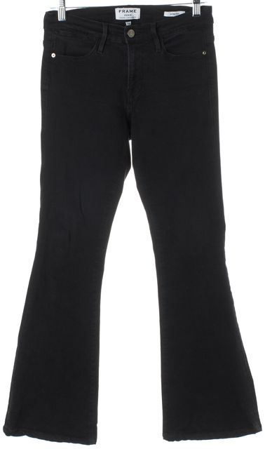 FRAME Black Stretch Modal Mid-Rise Le High Flare Jeans