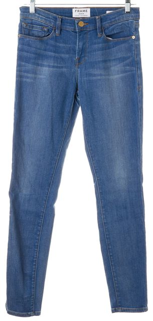 FRAME Linden Blue Stretch Cotton Mid-Rise Skinny Jeans