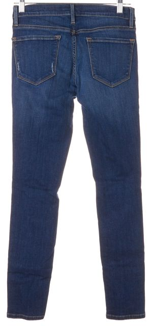 FRAME Walgrove Blue Distressed Stretch Cotton Skinny Jeans