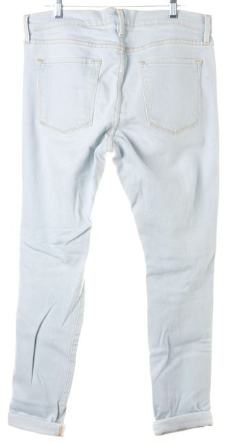 FRAME Light Blue Distressed Cropped Slim Fit Jeans