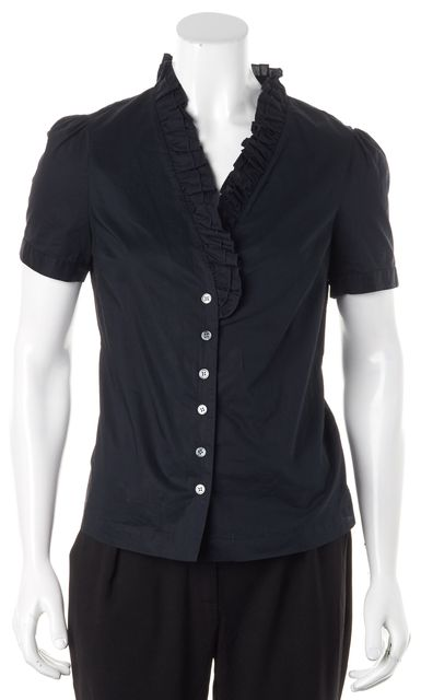 FRAME Navy Blue Ruffled Short Sleeve Button Down Shirt Top