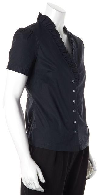 FRAME Navy Blue Ruffled Short Sleeve Button Down Shirt Top