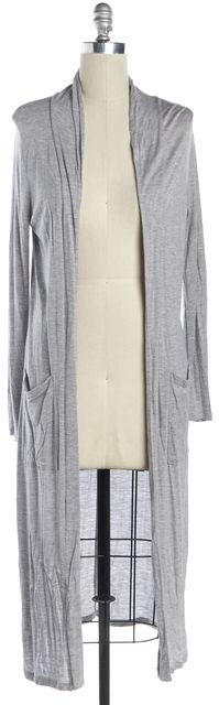 FRAME Heather Gray Linen Jersey Open Cardigan Duster Knit Top w Pockets