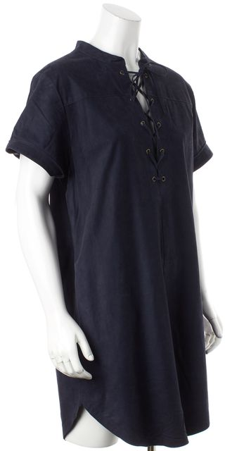 FRAME Navy Blue Suede Short Sleeved Tunic Dress