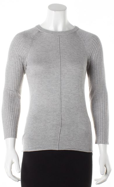 FRAME Gray Silk Cashmere Knit Ribbed Sleeves Crewneck Sweater