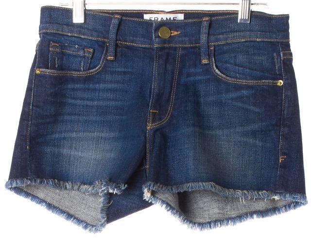 FRAME Blue Denim Frayed Hem Shorts