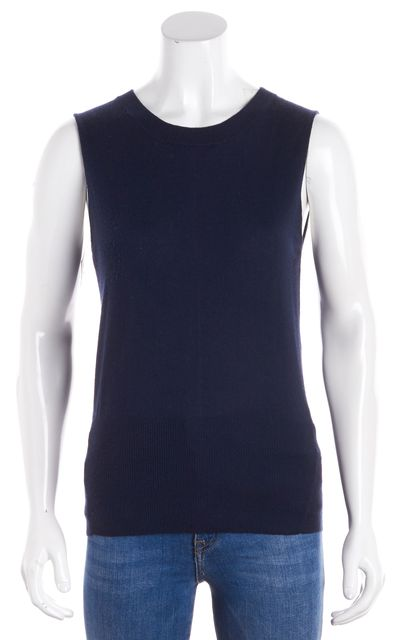 FRAME Navy Blue Wool Cashmere Vest Sweater