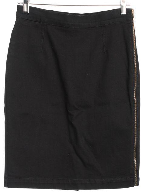FRAME Black Denim Gold Side Zip Pencil Skirt