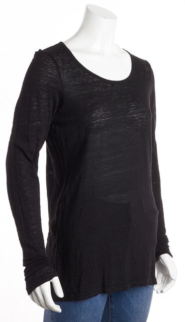 FRAME Black Linen Long Sleeve Blouse Top