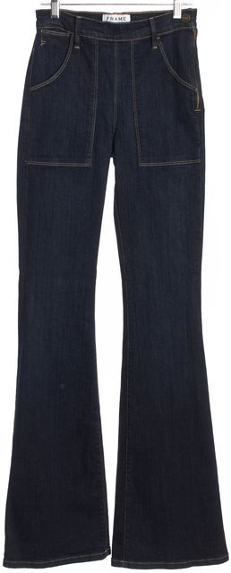 FRAME Dark Wash Mid-Rise Side Zip Flare Jeans
