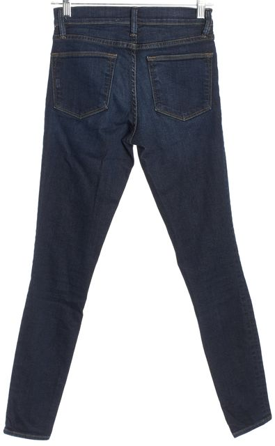 FRAME Medium Wash Mid-Rise Destroyed Skinny Jeans