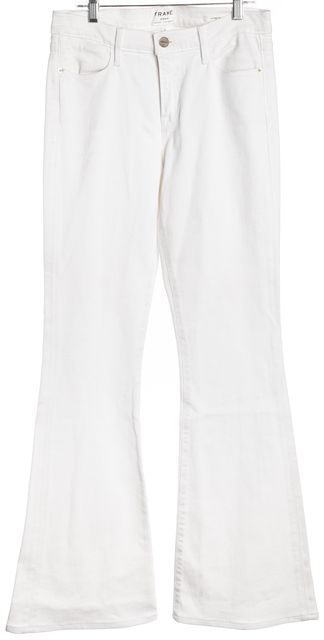 FRAME White High-Waisted Flare Jeans