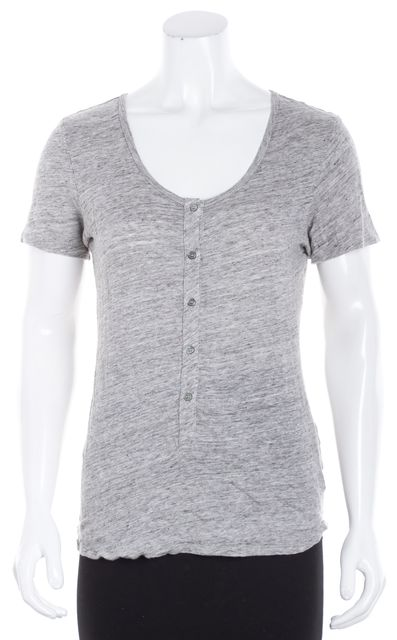 FRAME Gray Linen Button Basic Tee T-Shirt
