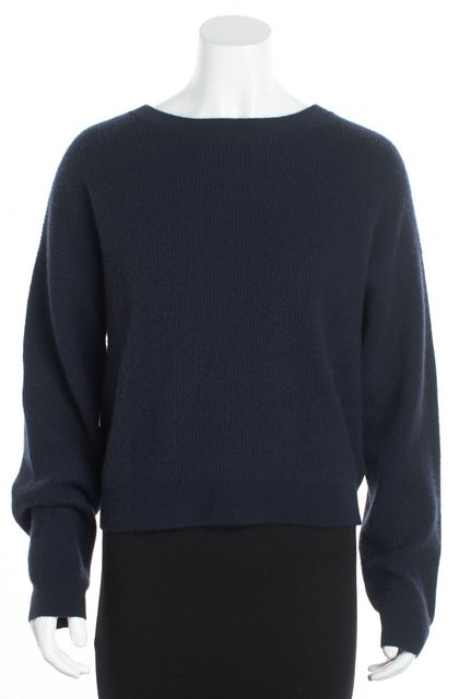 FRAME Navy Blue Cashmere Crewneck Sweater